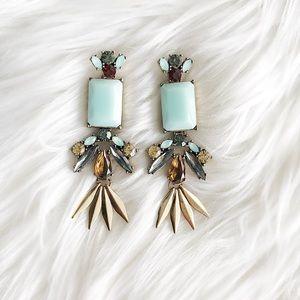 Jewelry - Mint & Amber Statement Earrings